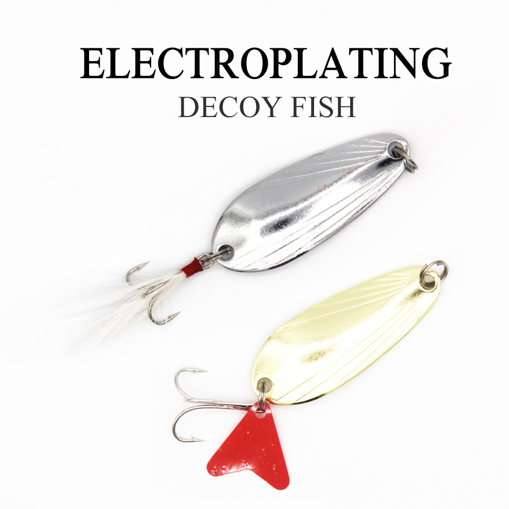 1Pcs Fishing iron Spoon Copper Spoon 2 Color 3 Size Spoon Lure Bait Fishing Lron Plate Beach Iong Shot trble Hook