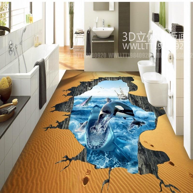 где купить Free Shipping Custom Shark Dolphin bathroom kitchen hotel lobby restaurant 3D floor painting wallpaper mural по лучшей цене