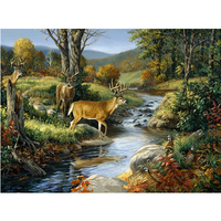 5D DIY Diamond Painting Cross Stitch Forest Pattern Birds And Antelope Diamond Embroidery Mosaic For
