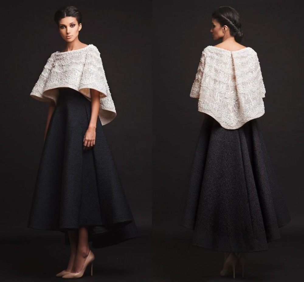 Buy black white krikor jabotian evening for Ankle length wedding dress with sleeves