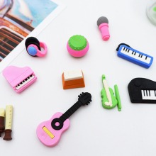 1X cute Cartoon eraser mini Music series modelling children stationery gift prizes  kawaii school office supplies papelar