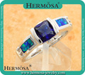 Anniversary Gifts Silver Blue Australian Opal Jewelry Trendy Natural Gems Band Rings IN STOCK Size 6.5
