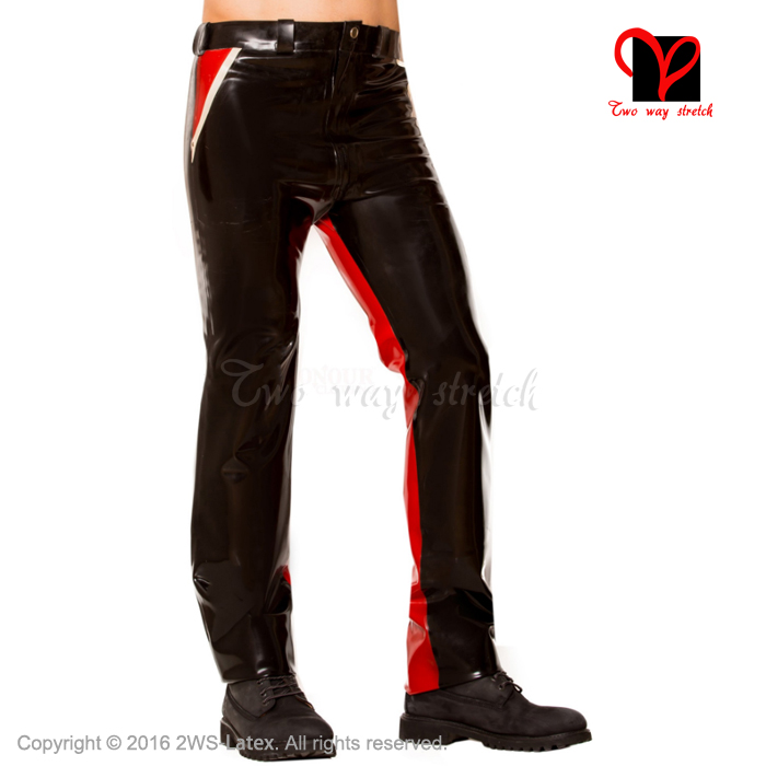 Sexy Latex Jeans with pocket trims Skinny Rubber tights Gummi Bottom eggings Trousers bottoms pants men XXXL plus size KZ-077