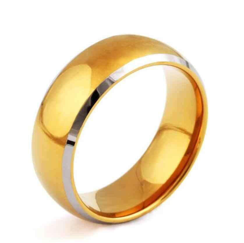 Ouro dos homens anel de aço titanium moda estilo clássico europa E nos estados Unidos Hot 2019 novos produtos t1113