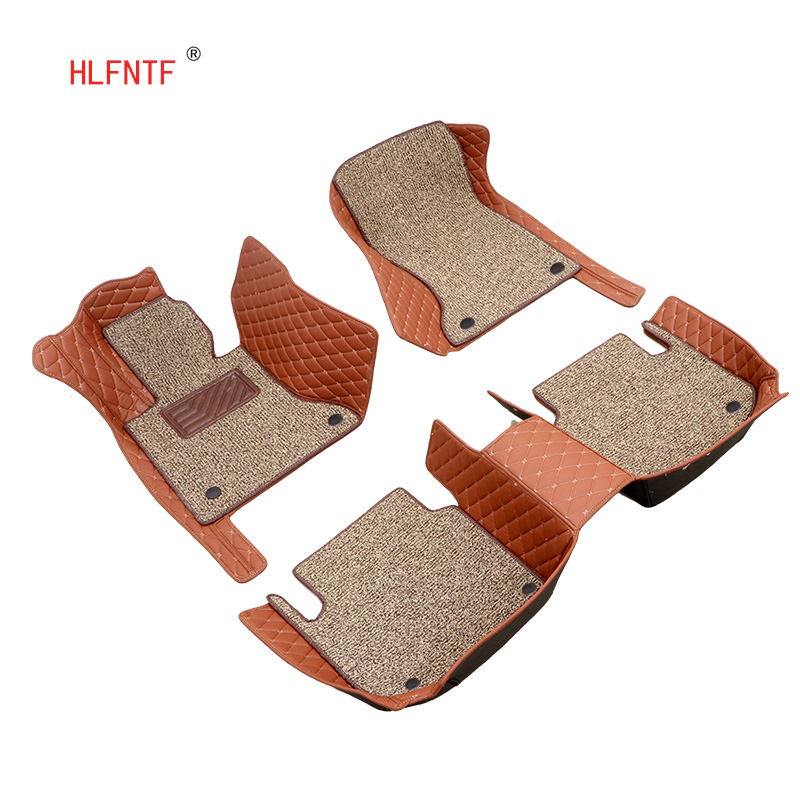 HLFNTF Custom Double car floor mat Mercedes Benz C W204 205 E W211 212 213 S CLA class GLC ML GLE GL car carpet car Styling