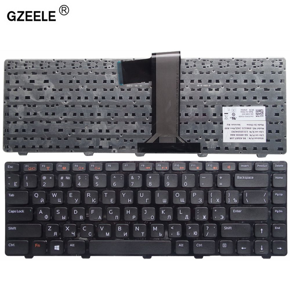 GZEELE russian laptop Keyboard for DELL Inspiron 15R 5520 7520 0X38K3 65JY3 065JY3 BLACK without backlight RU notebook keyboard mens casual 3d personality skull printing short sleeve t shirt cotton sport black tees