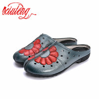 2017 Women Shoes Flat Genuine Leather Hand Made Ladies Cow Leather Flat Shoes Yellow Gray Red