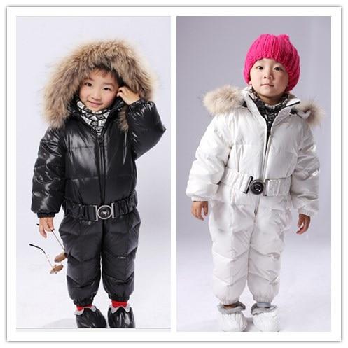 ФОТО Children winter outerwear romper 2016 baby boy's girl's winter warm fur hoodies down parkas outerwear coats cotton-padded