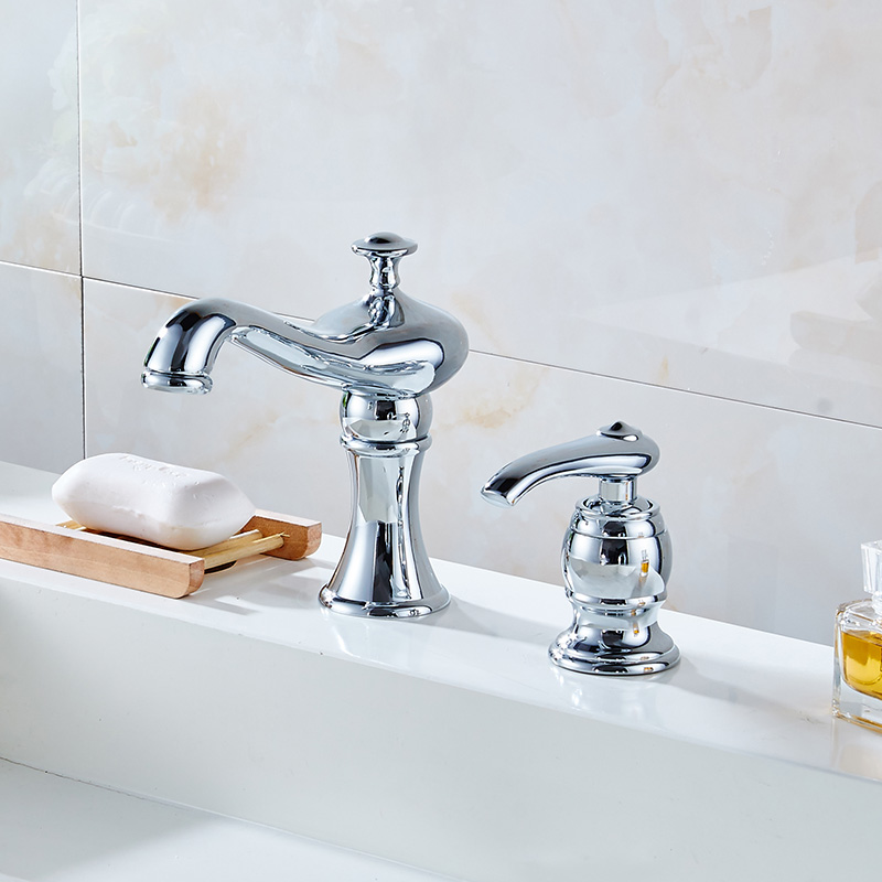 new 2 pcs brass bathroom faucet two hole basin sink faucet mixer taps cold hot water tap with drain soap dispenser chrome gold