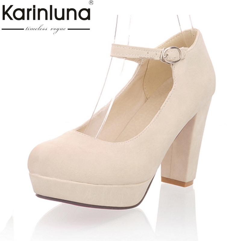 Karinluna 2018 Large Size 34-43 Spring Autumn Women Pumps Woman Buckle Strap Shoes Woman High Heels Platform Office Lady Pumps vallkin size 34 43 white buckle strap round toe women pump square high heels solid autumn spring lady party shoes
