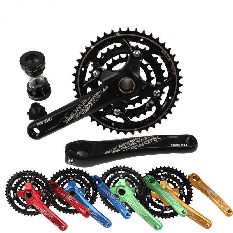 цена на Mountain Bike 27 30 Speed Hollow Integrated Crankset 22-32-44T 104MM Chainring Road Bike 170MM 7005 Aluminum Alloy Crank with BB