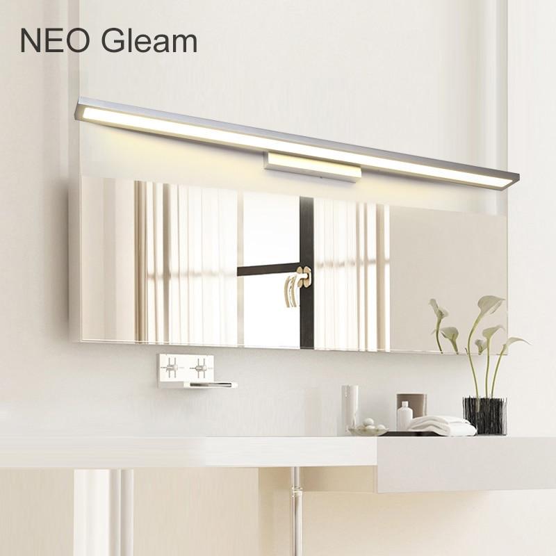 Latest NEO Gleam White Black Modern bathroom toilet LED front mirror lights bathroom Aluminum mirror lights 0 4 1m 8 24W 85 265V in LED Indoor Wall Lamps from New Design - black bathroom light New Design