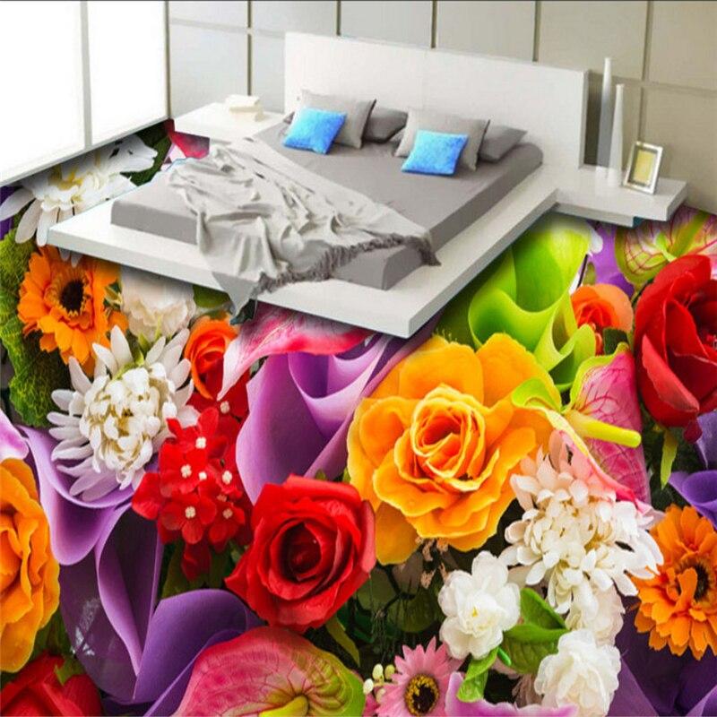 Beibehang Custom 3D wallpaper Beautiful HD Rose color flowers bathroom 3d flooring painting 3d flooring papier peint mural photo beibehang custom wallpaper 3d beautiful