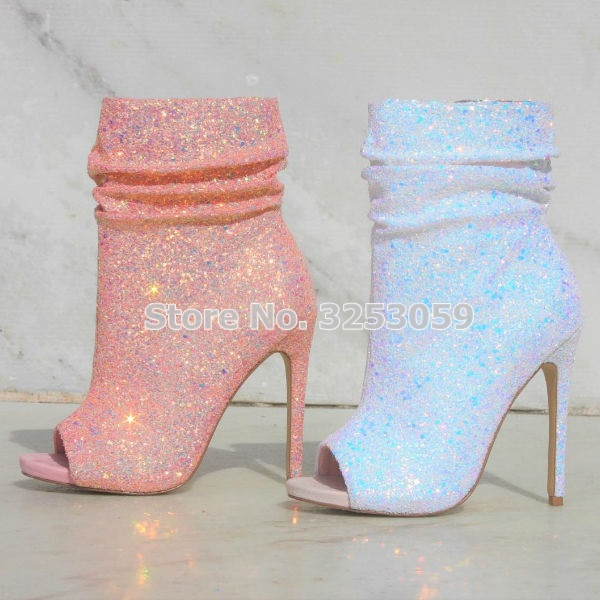ALMUDENA New Arrival Pink White Black Bling Bling Sequined Booties Open Toe Stiletto Heels Glitter Dress Pumps Shining Shoes women bling bling glitter stiletto heels pumps pointed toe slip on sequined cloth wine cup heel dress shoe gold heels pumps j001