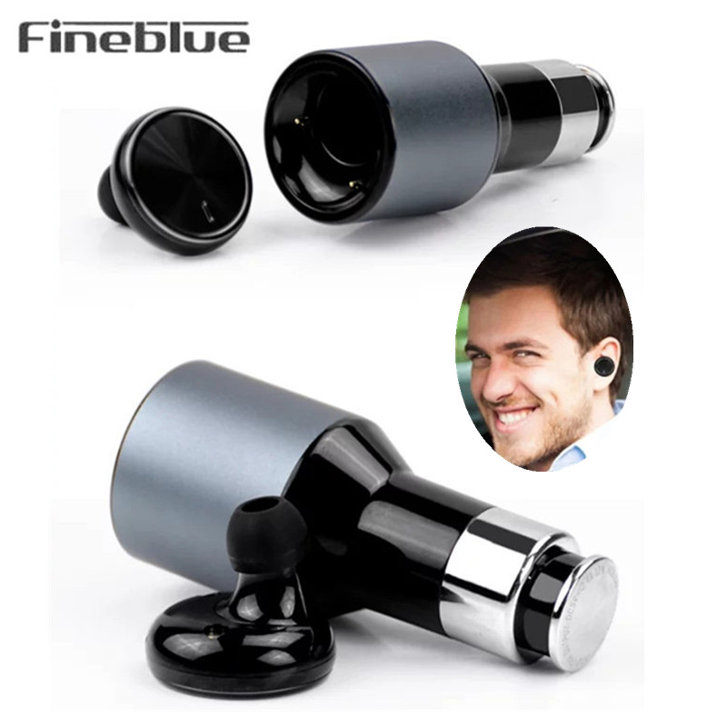 Fineblue F-458 2 In 1 Mini Wireless Bluetooth 4.0 Headset Car Charger Driver Auriculares Handsfree Earphones Earbuds for Driving remax 2 in1 mini bluetooth 4 0 headphones usb car charger dock wireless car headset bluetooth earphone for iphone 7 6s android