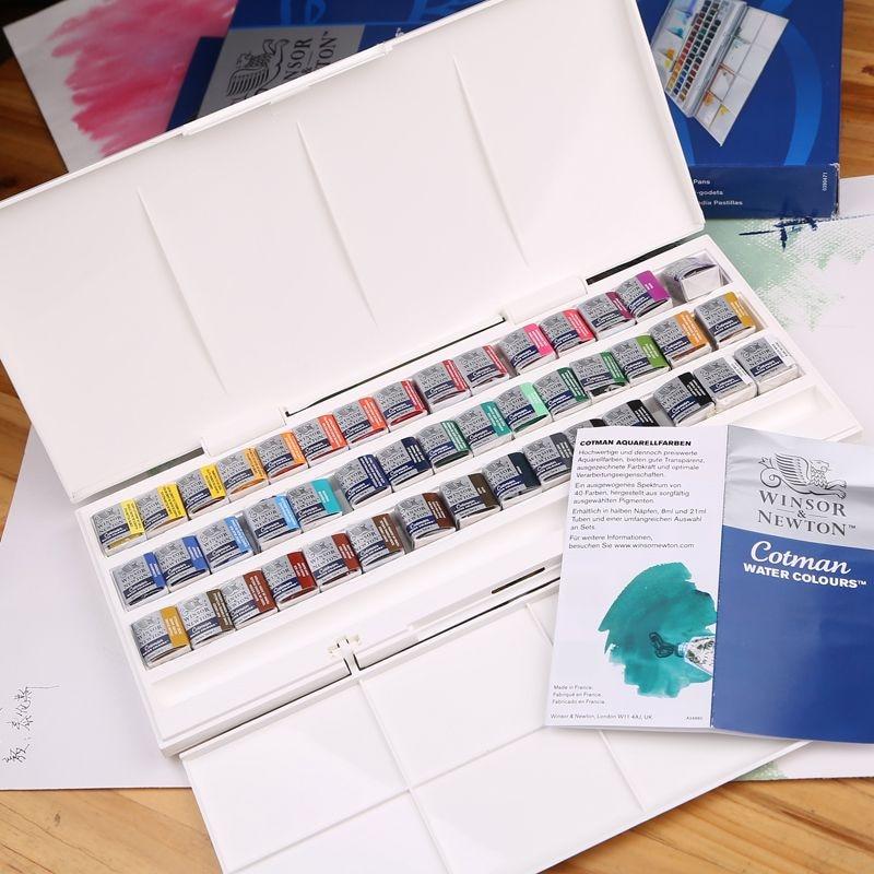 Купить с кэшбэком Free shipping British Windsor Newton  Cotman 45 color watercolor Solid studio water colours set professional artist suit