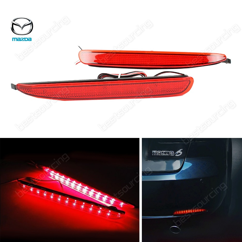 2X Red Lens LED Rear Bumper Reflector Tail Brake Stop Light for Mazda6 03-08 JDM Atenza GG 02-07 Mazda 6(CA170)