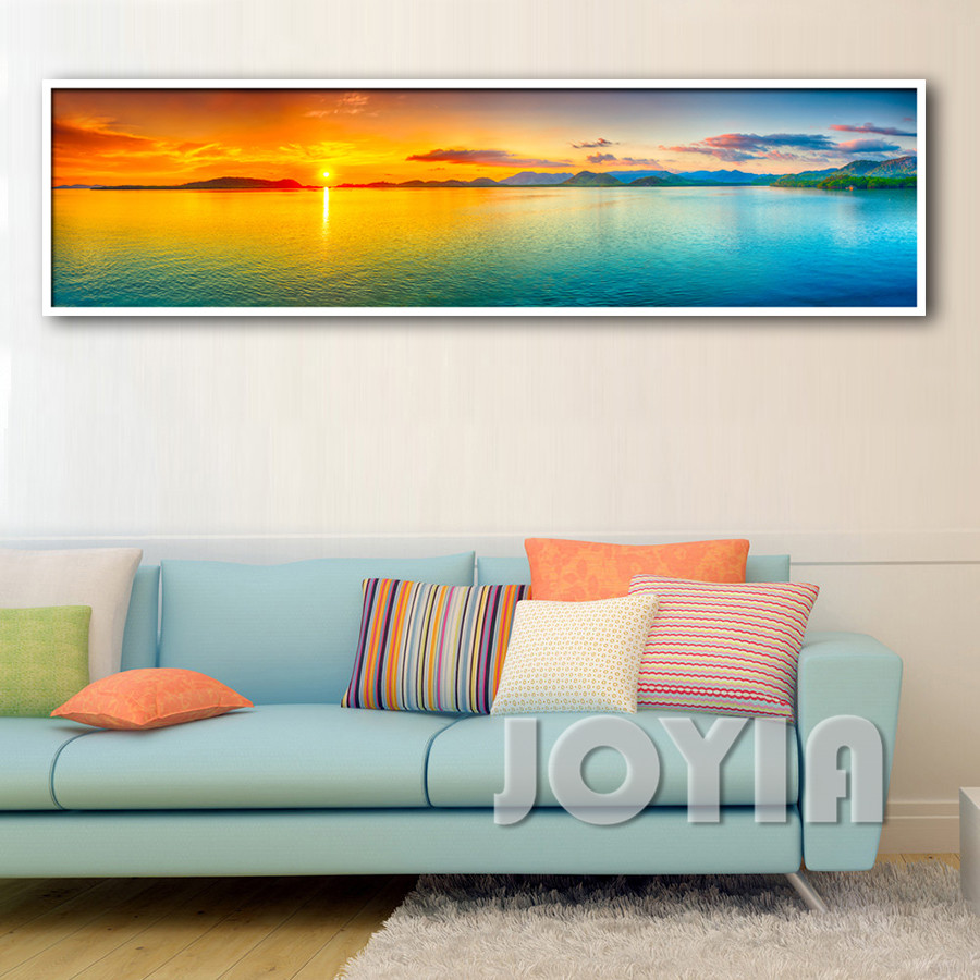 nature canvas wall art landscape painting sunset sea panorama seascape decor picture panel boards for home