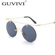 Rodada Steampunk Mulheres óculos de sol Sem Aro 2017 Framless Punk Hip hop  Mens sunglasses marca designer Homens óculos de Sol d. 597fe95b89
