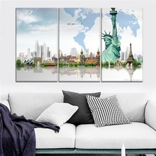 World Wonders Iconic Ancient Buildings Painting 3 Piece Modular Style Picture Canvas Print Type Home Decor Wall Artwork Poster