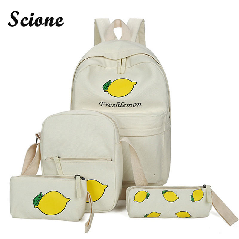 2017 New Women Backpack Canvas School Shoulder Bags Teenager Girls Fresh Style Printing Backpack Set 4PCS Student School Bag harajuku style ice cream printing backpack high middle school student shoulder bag backpack for teenager girls casual travel bag