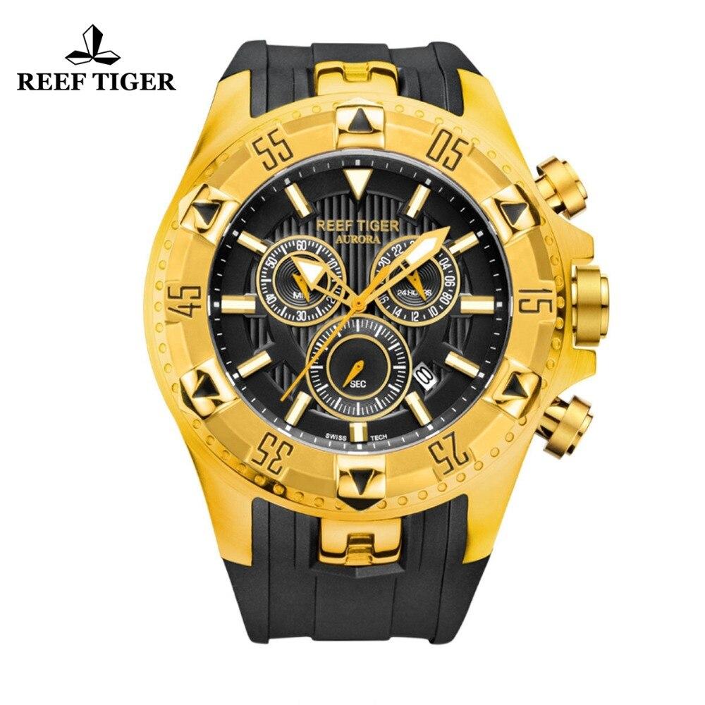 Récif Tigre/RT Sport Mens Montre avec Chronographe Date Or Jaune Bracelet En Caoutchouc Montres À Quartz reloj hombre masculino RGA303