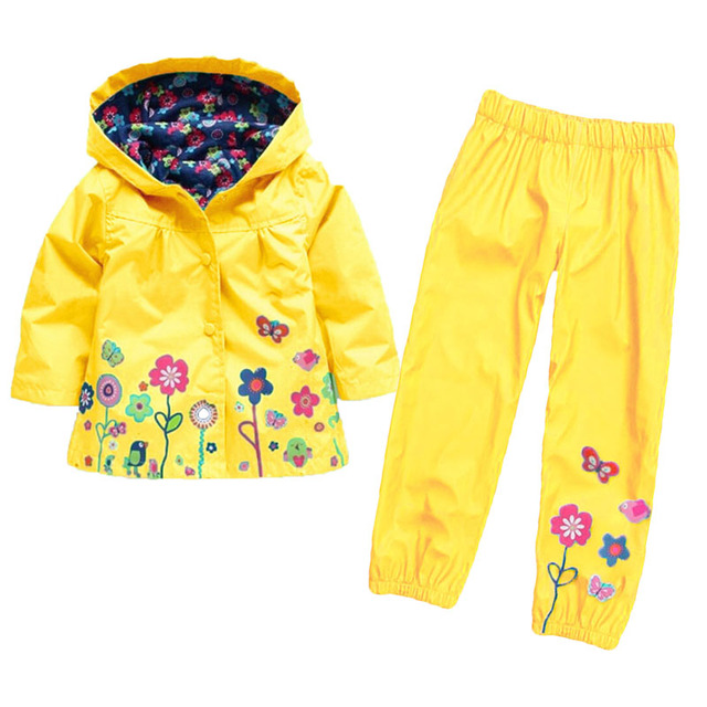 ec8db71ed Girls Hoodie Tracksuit Two Piece Nylon Waterproof Windbreaker Jacket ...