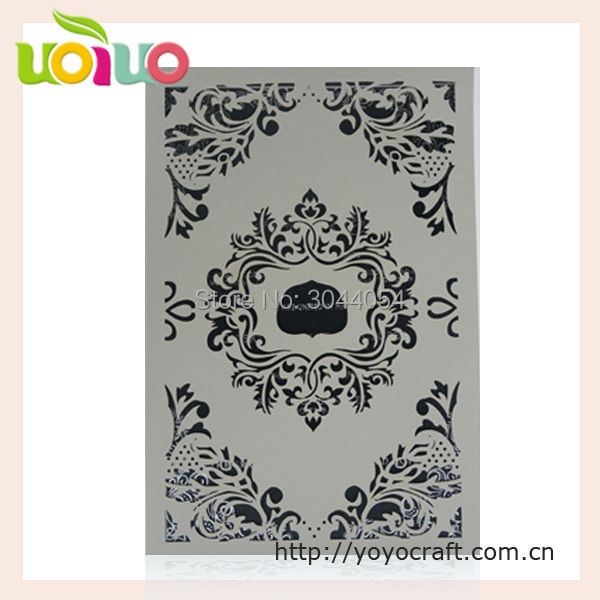 noble and luxury royal wedding invitation card tri fold lace laser cut formal invitation card letter