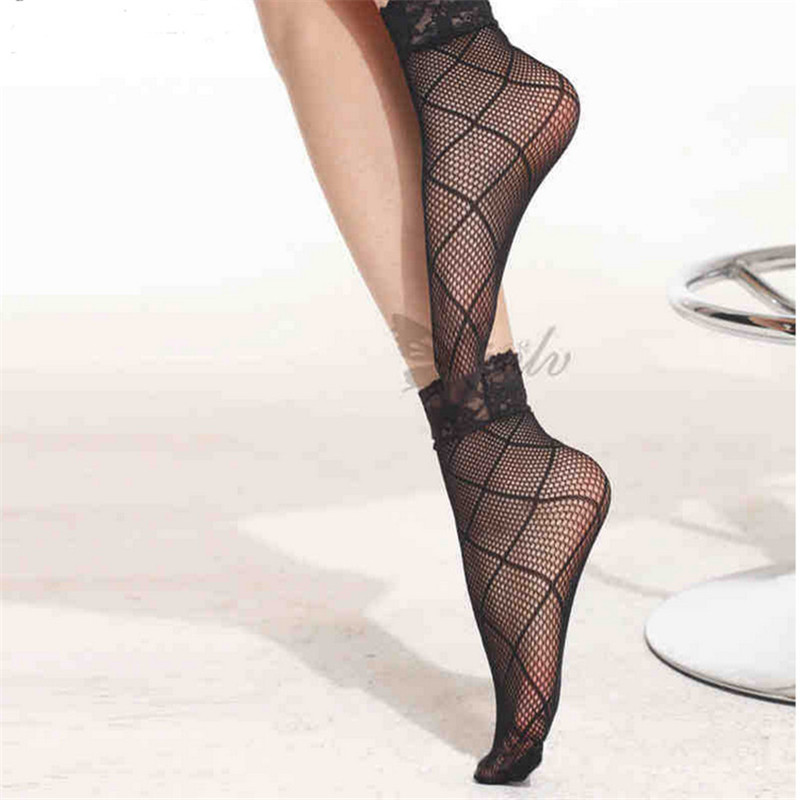 Sexy Nylon Short Mesh Fishnet Socks Gridding Lace Women's Summer Fashion Breathable Ultra-Thin Transparent Silk Socks Calcetines