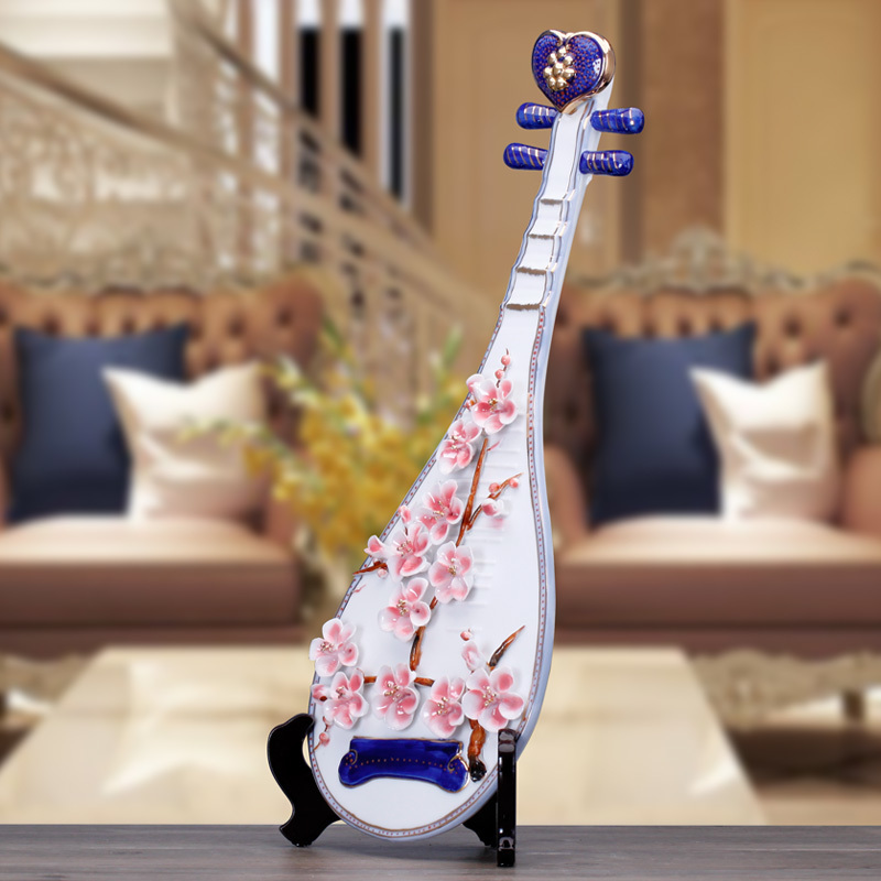Artisanat créatif mariage violon guitare Lute en céramique décor à la maison artisanat chambre décoration en céramique ornement porcelaine Figurines - 4