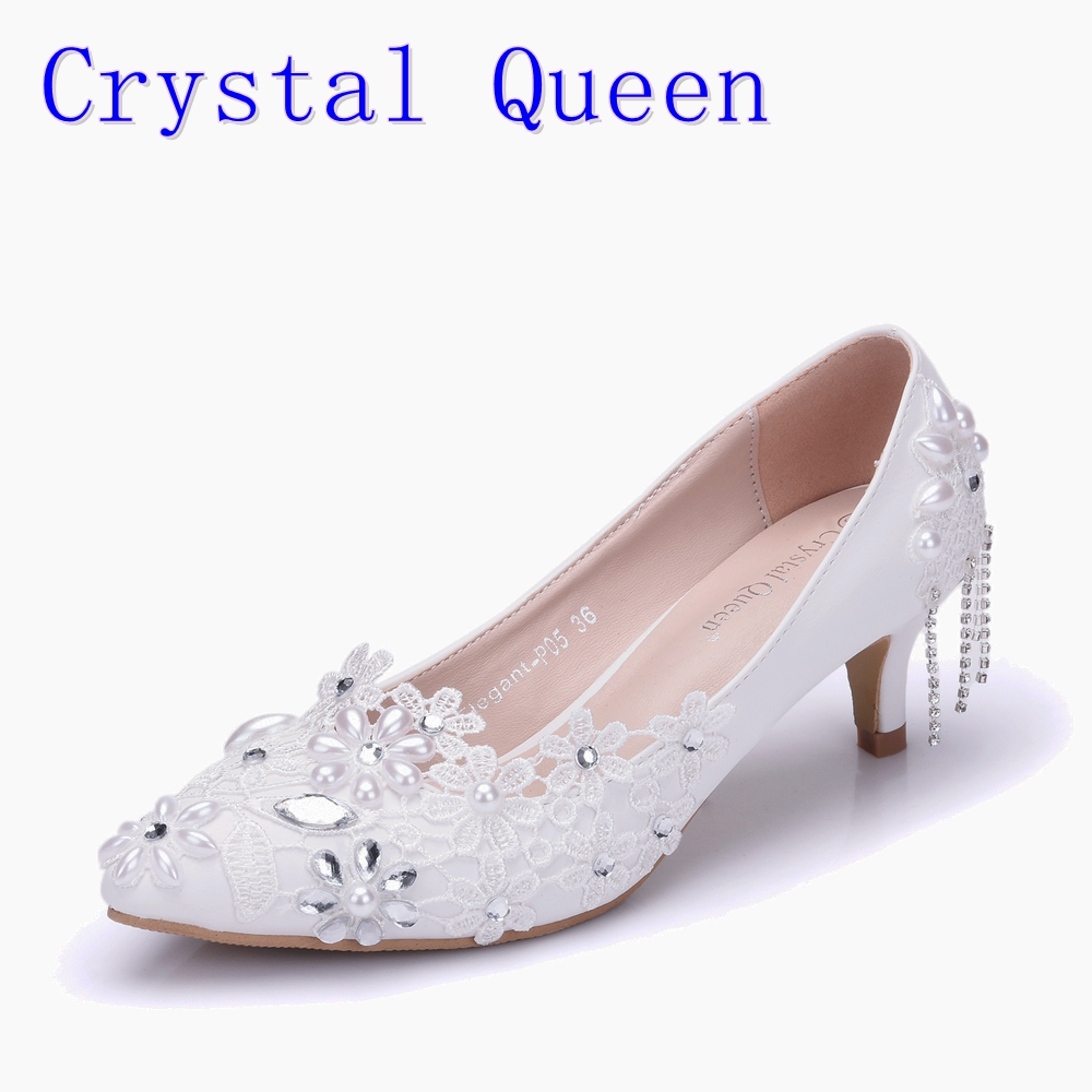 Crystal Queen Single Rhinestone Shoes Women Pumps White Lace Flower Tassels High Heels Dress Shoes 5CM Heels Pearl Wedding Shoes