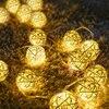 20/40 kulki rattanowe girlanda żarówkowa LED Garland bawełniana piłka łańcuch świetlny Guirlande Lumineuse świąteczne lampki świąteczne
