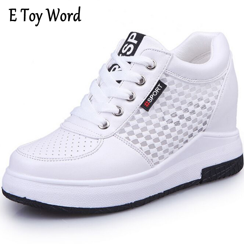 E TOY WORD Autumn Lace-Up Women Casual Shoes Increased Breathable Platform Woman Within Net Surface Sneakers Zapatos Mujer e toy word canvas shoes women han edition 2017 spring cowboy increased thick soles casual shoes female side zip jeans blue 35 40