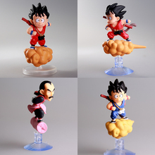 Dragon Ball Japanese Anime Sucker Son Goku Krillin Car Doll Action Figure Collections Gifts Small Toy Tao Pai