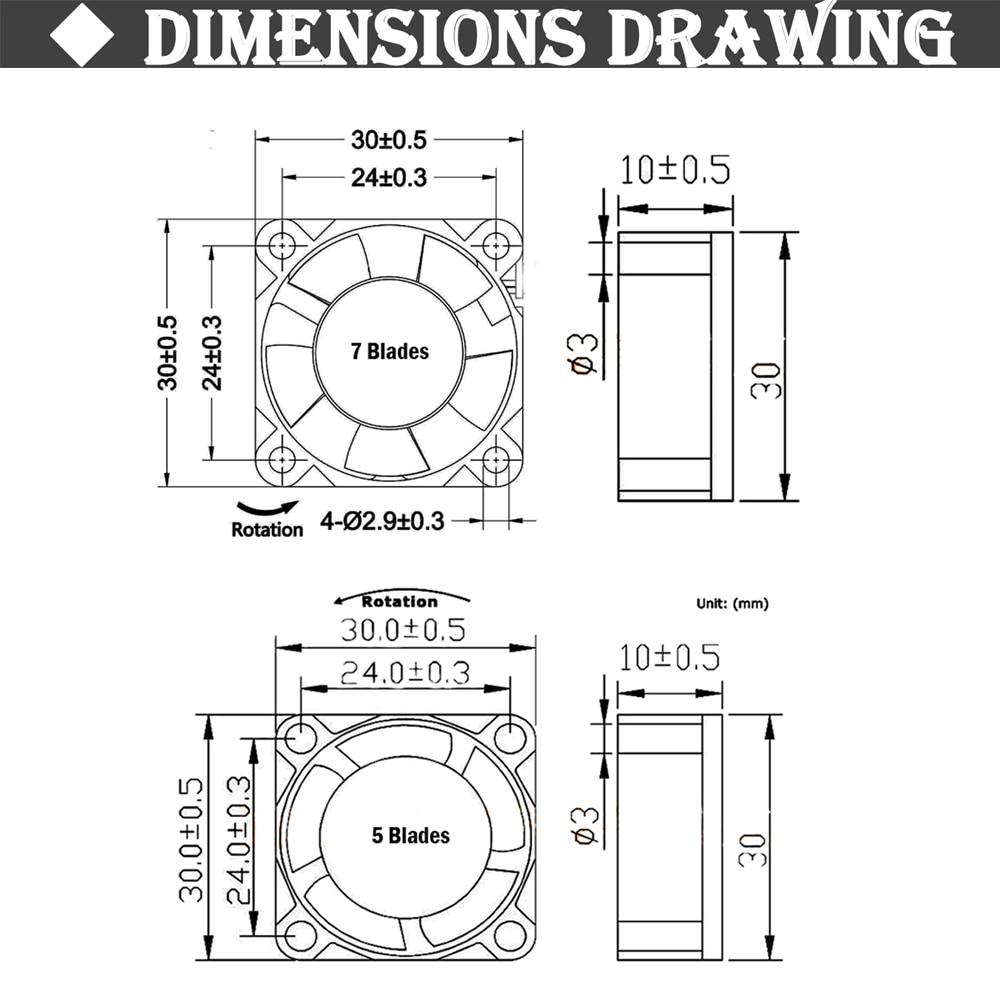 5 шт. Gdstime 3010 5 в 12 В 24 В 2Pin 3 см 30 мм 30x30x10 мм микро DC мини Бесщеточный кулер вентилятор охлаждения