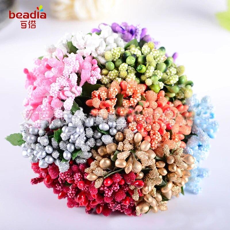 12//Bouquet Artificial Flower Stamen Wire Stem//Marriage DIY Wreath Wedding Decor