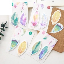 40 pcs/Lot Color feather sticky notes Decorative adhesive memo pad Post it stickers Stationery Office School supplies FM171