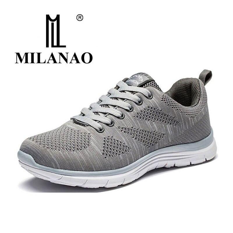 MILANAO New Sports Flyknit Racer Running Shoes For Men & Women . Breathable Men's Athletic Sneakers Krasovki zapatillas