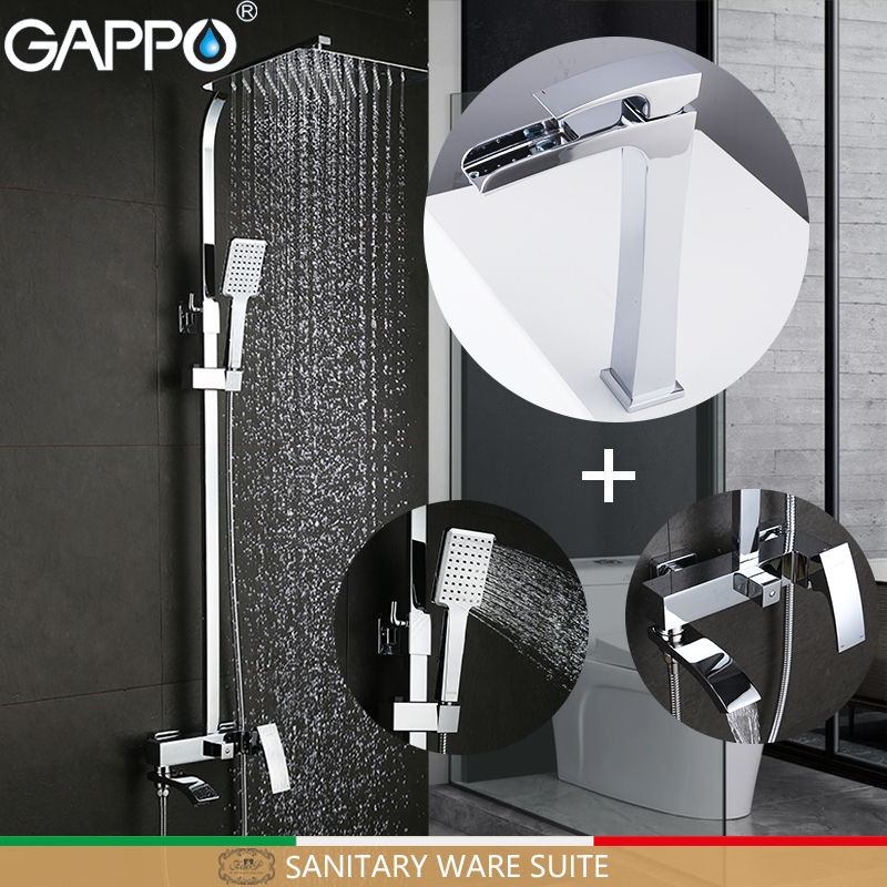 GAPPO Sanitary Ware Suite brass bathroom shower set chrome bath faucet mixers shower system shower set with basin faucet
