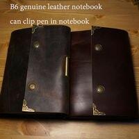 Hatimery B6 größe echtem leder journal reisende notebook vintage stift clip stil sprail frei gravieren lettters schulbedarf