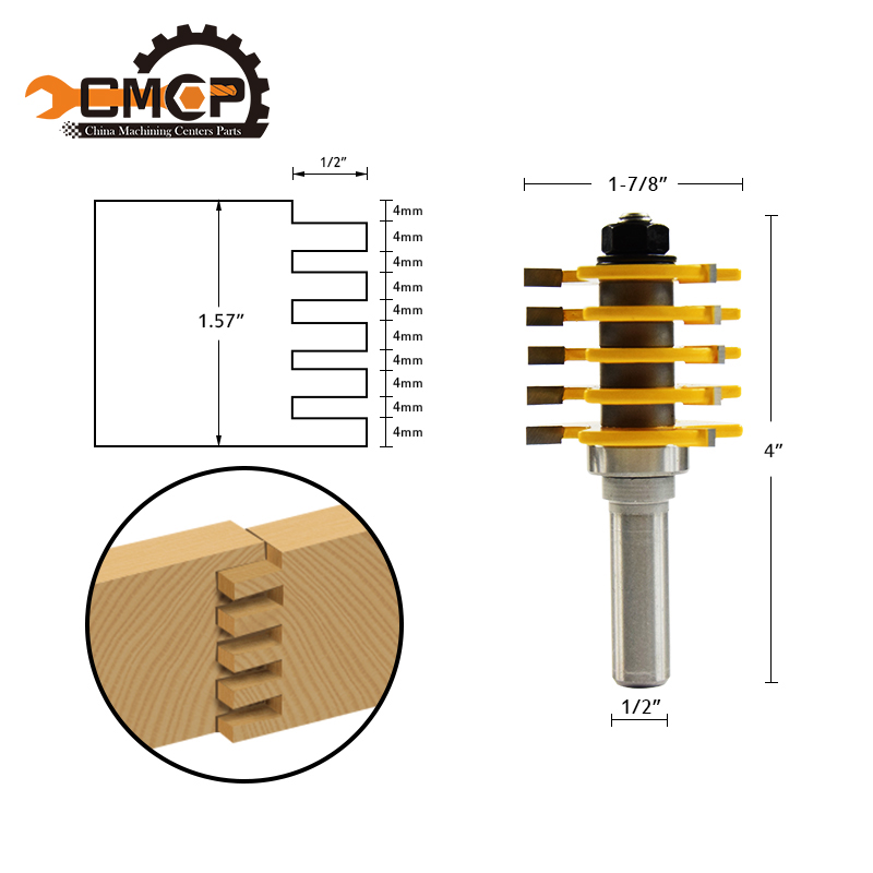 CMCP! 1pc Drill Bits Wood Router Bit Adjustable 5 Blade 3 Flute 1/2 inch Shank For Wood Cutter 1 2 5 8 round nose bit for wood slotting milling cutters woodworking router bits