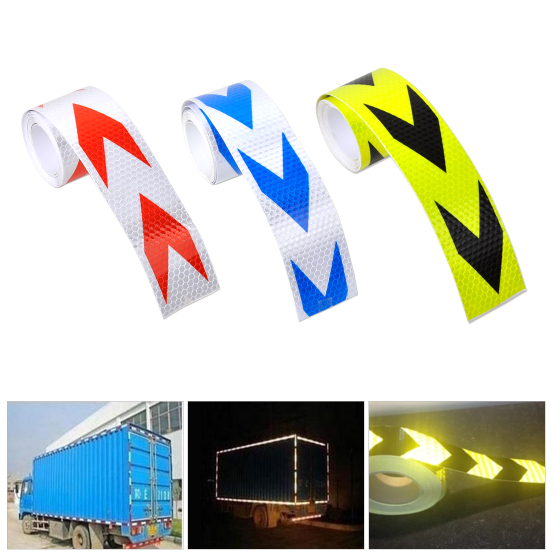 beler 5cmX3M 2X10 Reflective Safety Caution Warning Conspicuity Tape Film Sticker with Arrow Type for VW Kia Audi BMW Kia