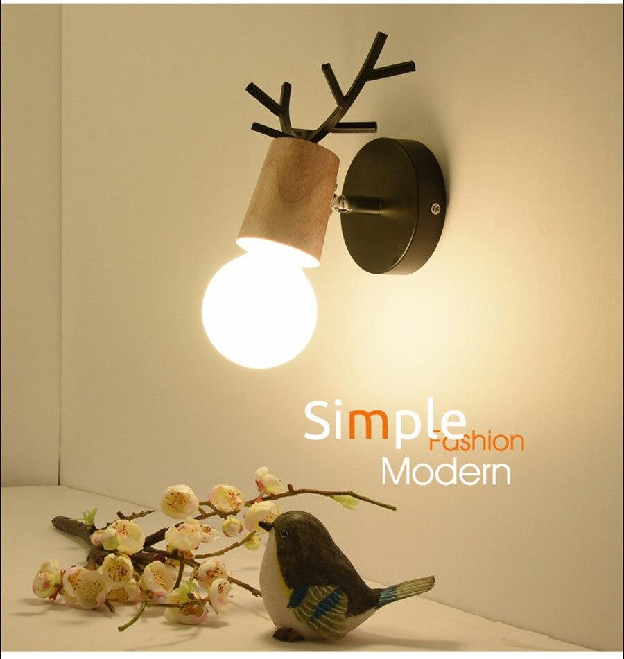 Nordic Modern Deer Antlers LED Wall Light Novelty Animal Solid Wood ...