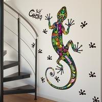 SHIJUEHEZI Gecko Stroll Wall Stickers PVC Material Wall Lizard Animal Wall Poster For Living Room Kids