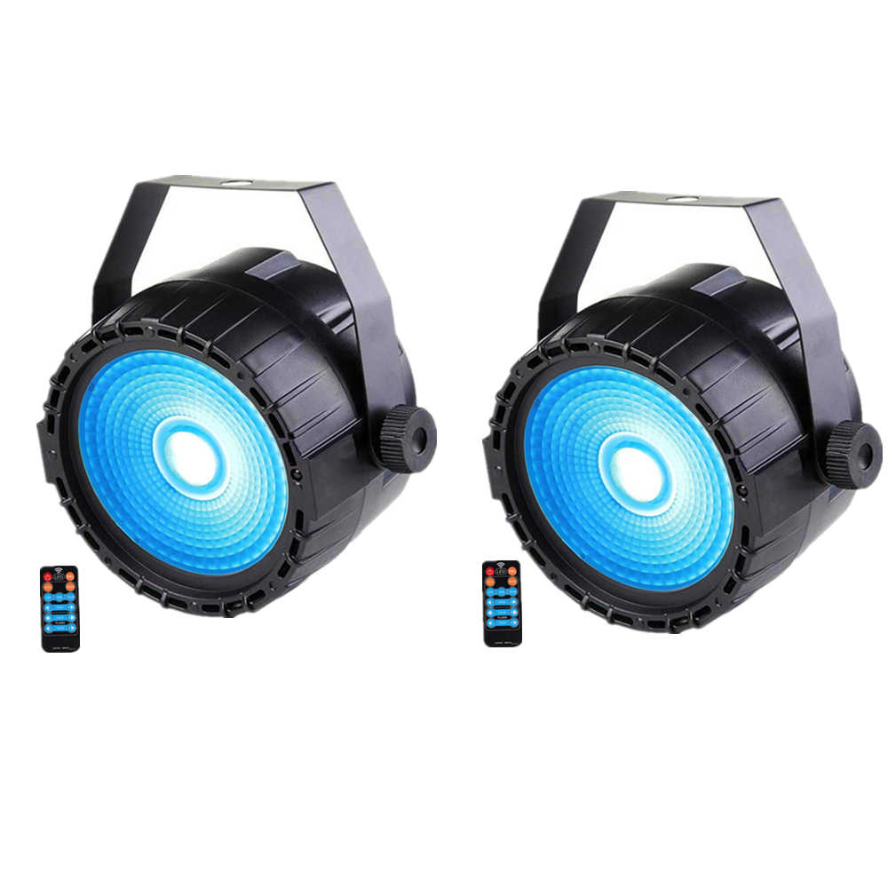 2 Pcs/lot Remote Kontrol Nirkabel Mini RGB + UV Efek 30W LED PAR COB, DMX512 UV LED Lampu PAR LED Lampu Sorot Panggung Lampu