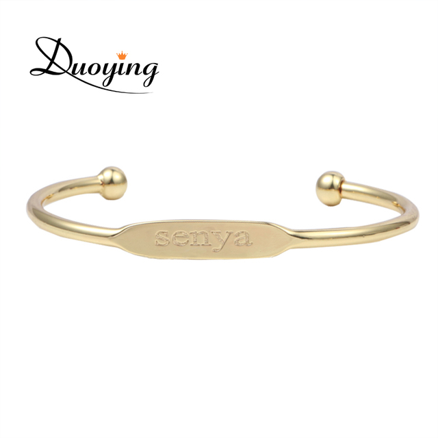 Duoying Baby Fashion Bangle Bracelet Personalized Custom Name Copper Initial Engraved Gold Love