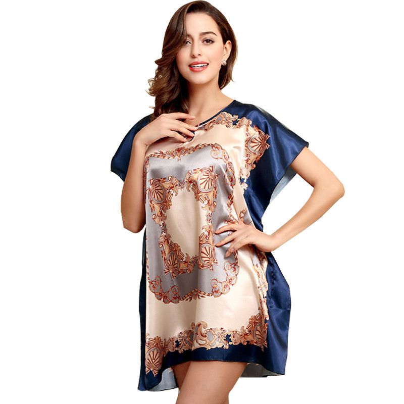 European Fashion Women Baroque Style Silk Nightdress Batwing Sleeve Luxury Retro Vintage   Nightgown   Sexy   Sleepshirt   Large Size