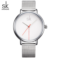 Shengke Luxury Top Brand Women Watch Business Watches Lady Clock Wristwatch Silver Mesh Belt Fashion Women