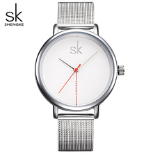 Shengke Luxury Top Brand Women Watch Business Watches Lady Clock Wristwatch Silver Mesh Belt Fashion  Women's Relogio Feminino