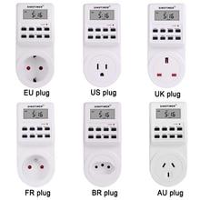 EU UK US FR BR Plug Digital Weekly Programmable Electrical Wall Plug-in Power Socket Timer Switch Outlet Time Clock 220V 110V AC стоимость